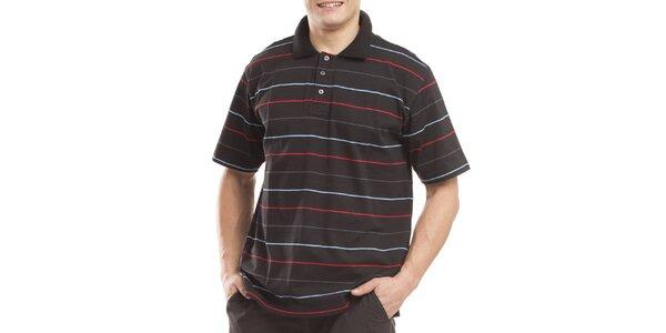 Pánske čierne polo tričko s prúžkami Alpine Pro