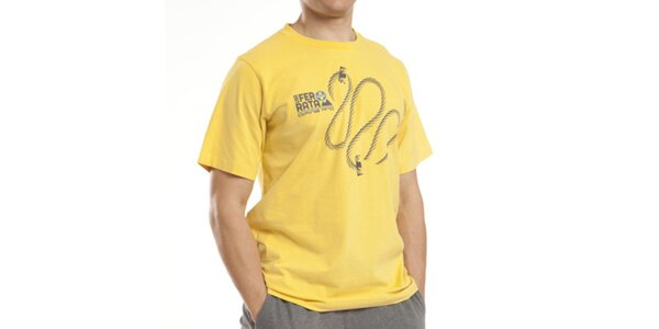 Pánske žlté tričko s potlačou Alpine Pro