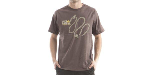 Pánske hnedé tričko s potlačou Alpine Pro