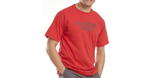 Pánske červené tričko s nápisom Alpine Pro