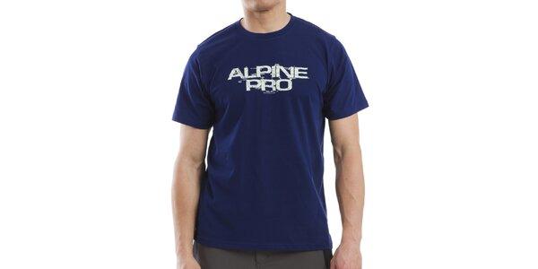 Pánske modré tričko s bielym nápisom Alpine Pro