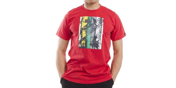 Pánske červené tričko s farebnou potlačou Alpine Pro