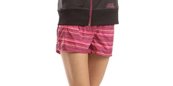Dámske ružové pruhované šortky Alpine Pro