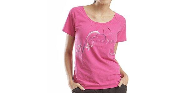 Dámske ružové tričko s farebnou potlačou Alpine Pro