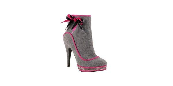 Šedé členkové topánky s ružovou mašľou