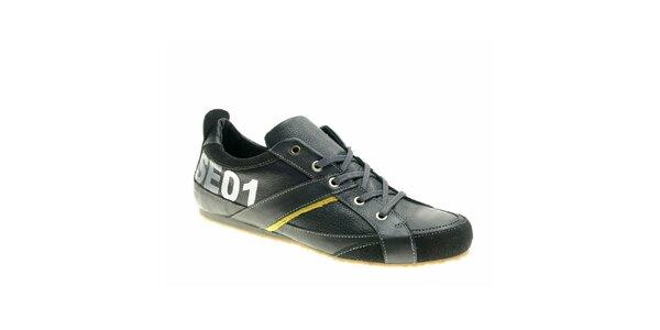 Pánske čierno-žlté kožené topánky Red Hot