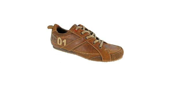 Pánske béžové kožené topánky Red Hot