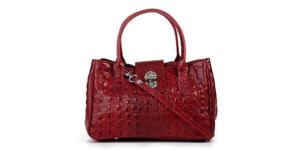Dámska červená kožená podlhovastá kabelka s vreckami Giulia