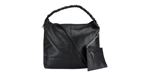 Dámska čierna kožená kabelka so zapleteným pútkom Giulia