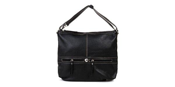 Dámska čierna kabelka s dvomi ozdobnými zipsami Giulia