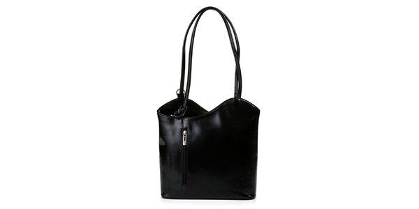 Dámska čierna kožená kabelka asymetrického strihu Giulia