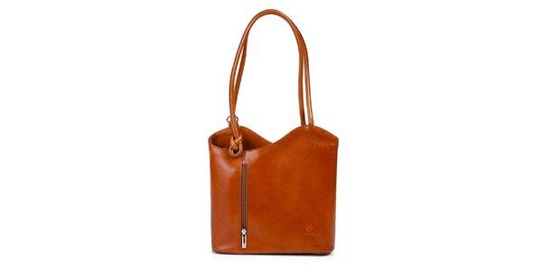Dámska koňaková kožená kabelka asymetrického strihu Giulia