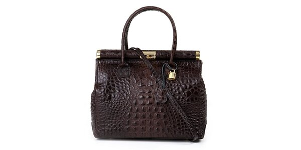 Dámska tmavo hnedá kožená kabelka s krokodílím vzorom Giulia