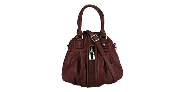 Dámska tmavo hnedá kožená kabelka so zámočkom Giulia