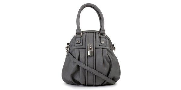 Dámska šedá kožená kabelka so zámočkom Giulia