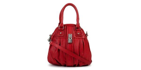 Dámska červená kožená kabelka so zámočkom Giulia