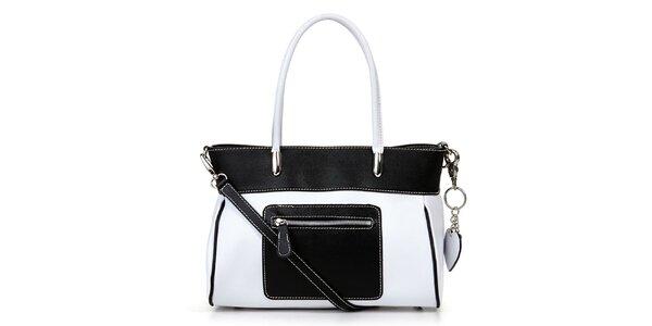 Dámska čierno-biela kabelka so zipsovým vreckom Giulia