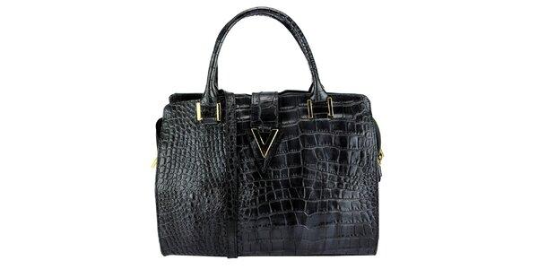 Dámska čierna kožená kabelka s krokodílím vzorom Giulia