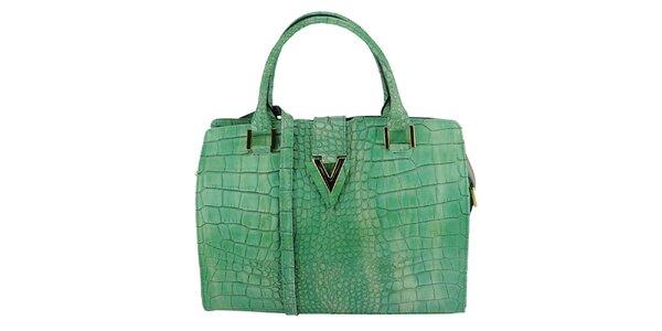 Dámska zelená kožená kabelka s krokodílím vzorom Giulia