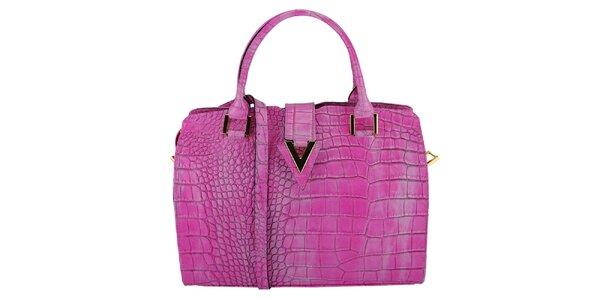 Dámska fialová kožená kabelka s krokodílím vzorom Giulia