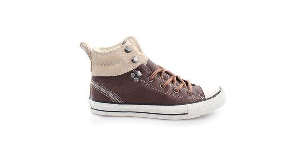 Hnedé členkové šnúrovacie topánky Converse