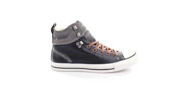Čierne kožené členkové tenisky so šedým pruhom Converse