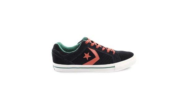 Čierne tenisky s červenými a zelenými prvkami Converse