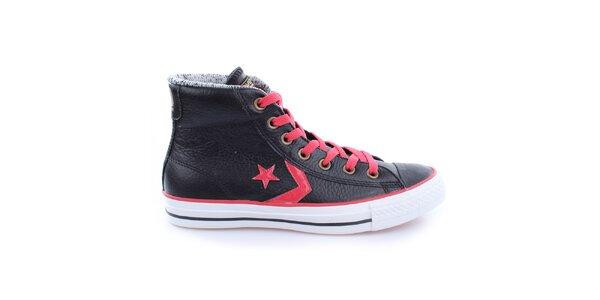 Čierne členkové tenisky s červenými šnúrkami Converse