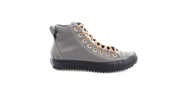 Šedé topánky s čiernou podrážkou Converse