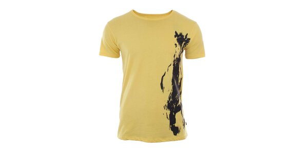 Pánske žlté tričko s potlačou River Rock
