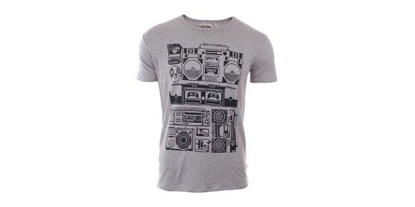 Pánske šedé tričko s potlačou River Rock