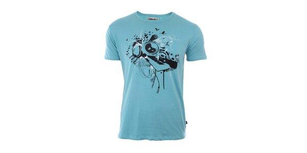 Pánske bledomodré tričko s potlačou na hrudi River Rock