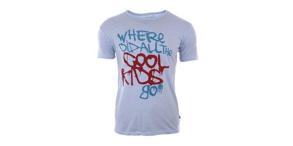 Pánske šedé tričko s farebným nápisom River Rock