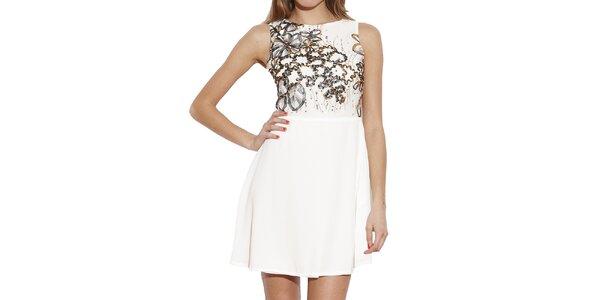 Dámske biele šaty s dekoratívnou aplikáciou Angel Eye