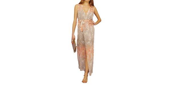 Dámske dlhé vzorované šaty s korálovo farebnými prvkami Angel Eye