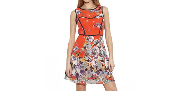 Dámske červené šaty s kvetinami Angel Eye