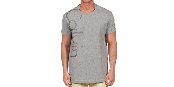 Pánske šedé tričko s krátkym rukávom Calvin Klein