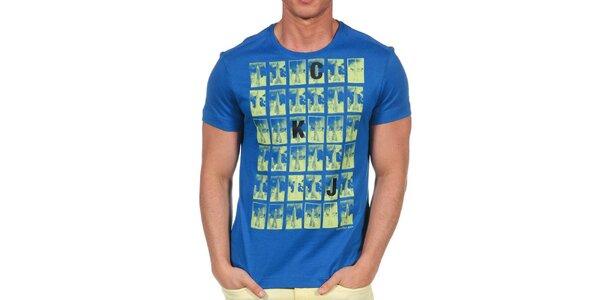 Pánske modré tričko s krátkym rukávom a potlačou Calvin Klein
