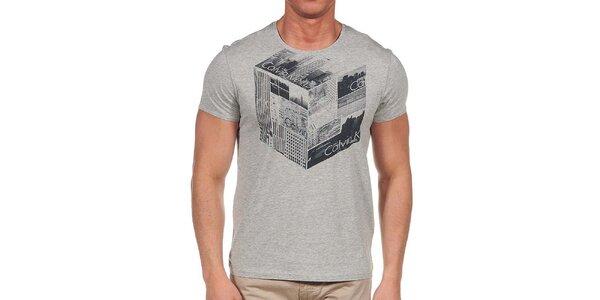 Pánske šedé tričko s krátkym rukávom a potlačou Calvin Klein