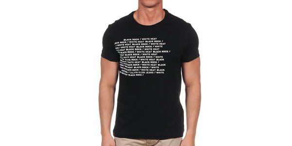 Pánske čierne tričko s krátkym rukávom a bielym nápisom Calvin Klein