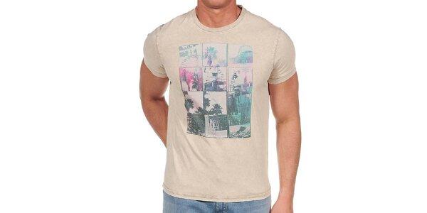 Pánske béžové tričko s farebnou potlačou Calvin Klein