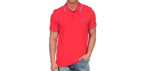 Pánske červené polo tričko s modrými lemami Calvin Klein