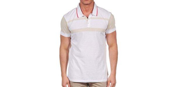 Pánske biele polo tričko s béžovými prvkami Calvin Klein
