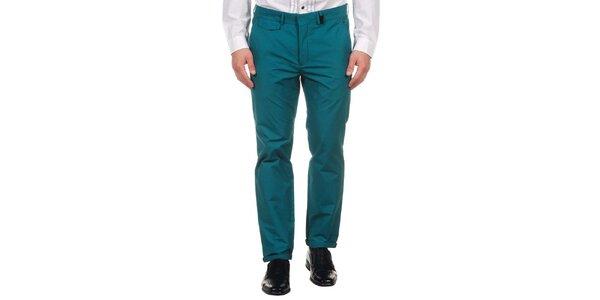 Pánske tmavo zelené spoločenské nohavice Calvin Klein
