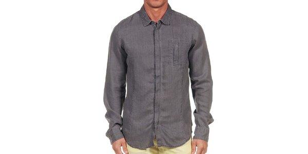 Pánska tmavo šedá košeľa Calvin Klein