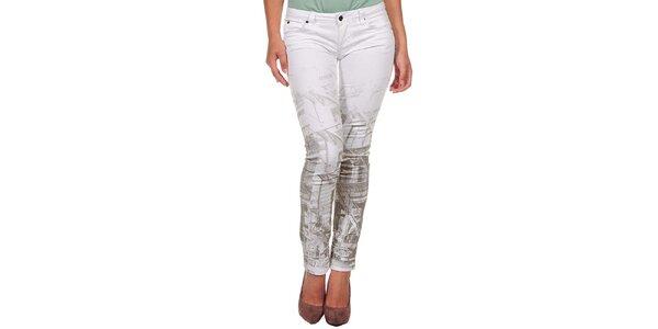 Dámske biele džínsy s potlačou Calvin Klein