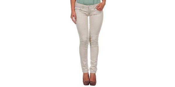 Dámske svetlo béžové úzke nohavice Calvin Klein