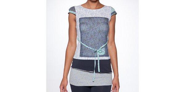 Dámske dlhé modré vrstvené tričko s opaskom Ian Mosh