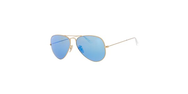 Zlaté pilotky s modrými sklami Ray-Ban