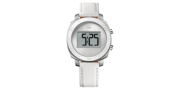 Guľaté digitálne hodinky s bielym remienkom Hugo Boss Orange